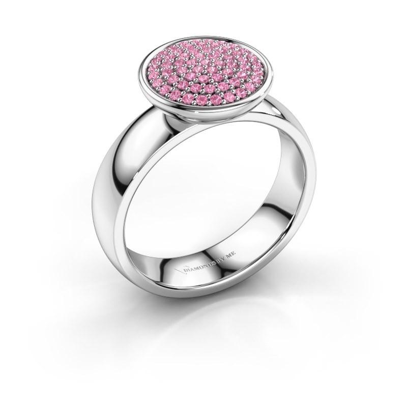 Ring Tilda 950 platina roze saffier 1 mm