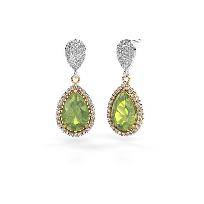 Drop earrings Tilly per 2 585 gold peridot 12x8 mm