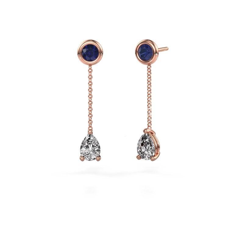Drop earrings Laurie 3 375 rose gold diamond 0.65 crt