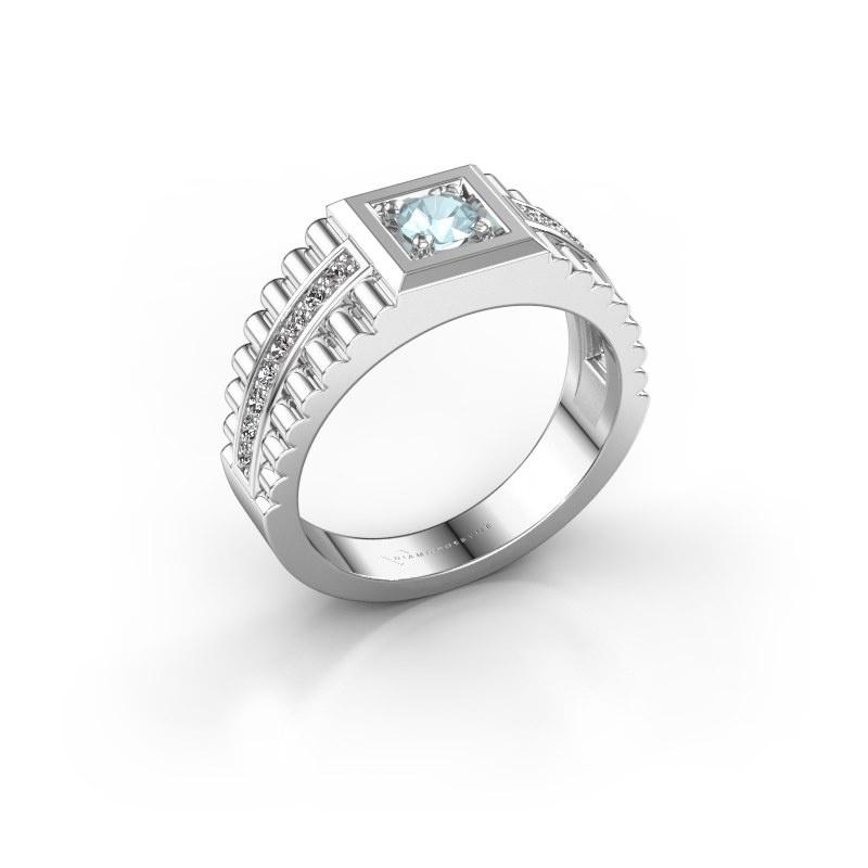 Men's ring Maikel 950 platinum aquamarine 4.2 mm