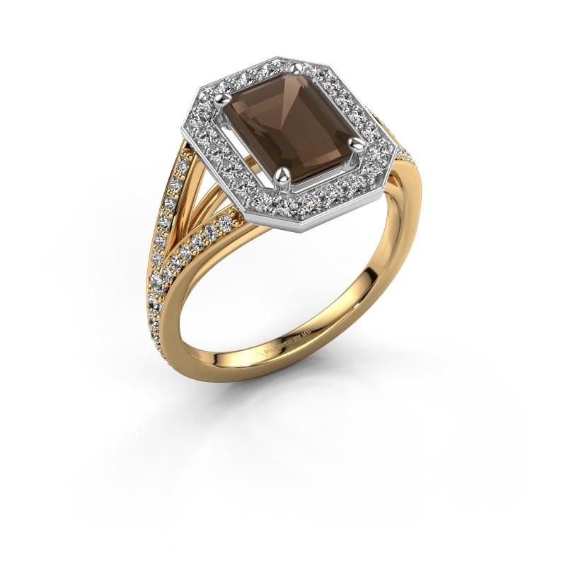 Promise ring Angelita EME 585 goud rookkwarts 8x6 mm
