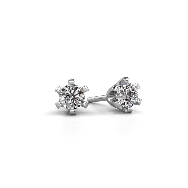 Clous d'oreilles Shana 585 or blanc diamant 0.25 crt
