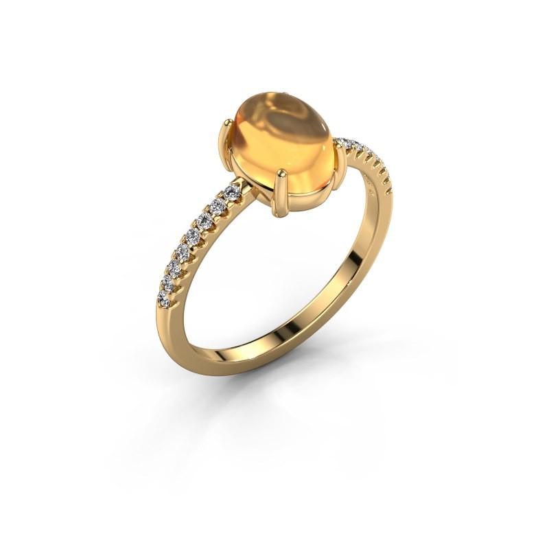 Ring Becky 585 gold citrin 8x6 mm