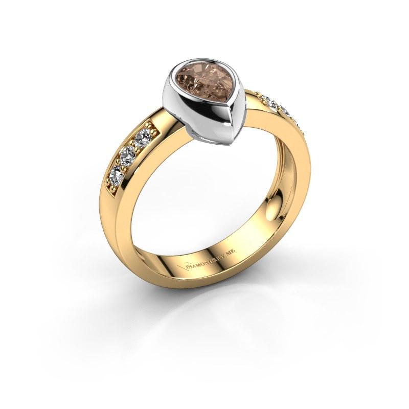 Ring Charlotte Pear 585 gold brown diamond 0.80 crt