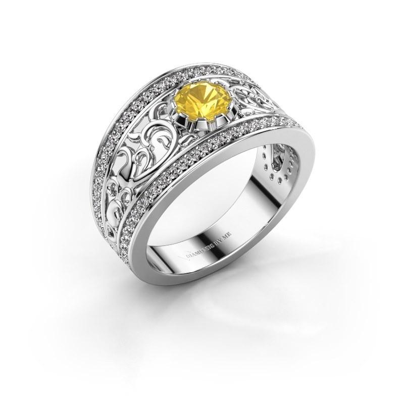 Ring Marilee 950 platina gele saffier 5 mm