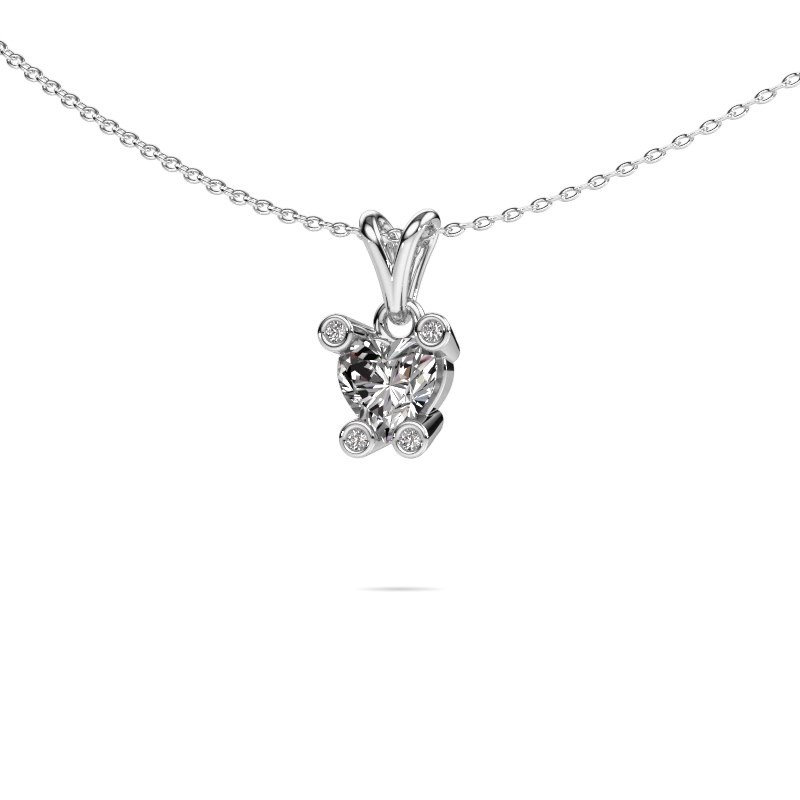 Ketting Cornelia Heart 585 witgoud lab-grown diamant 0.82 crt