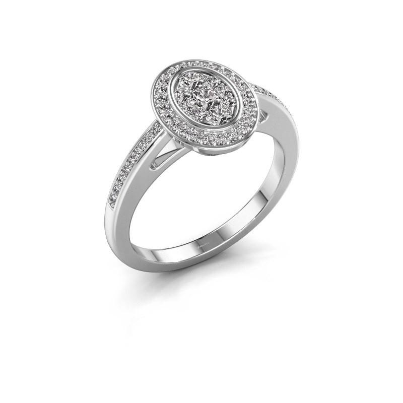 Bague de fiançailles Brigitte 585 or blanc diamant synthétique 0.505 crt