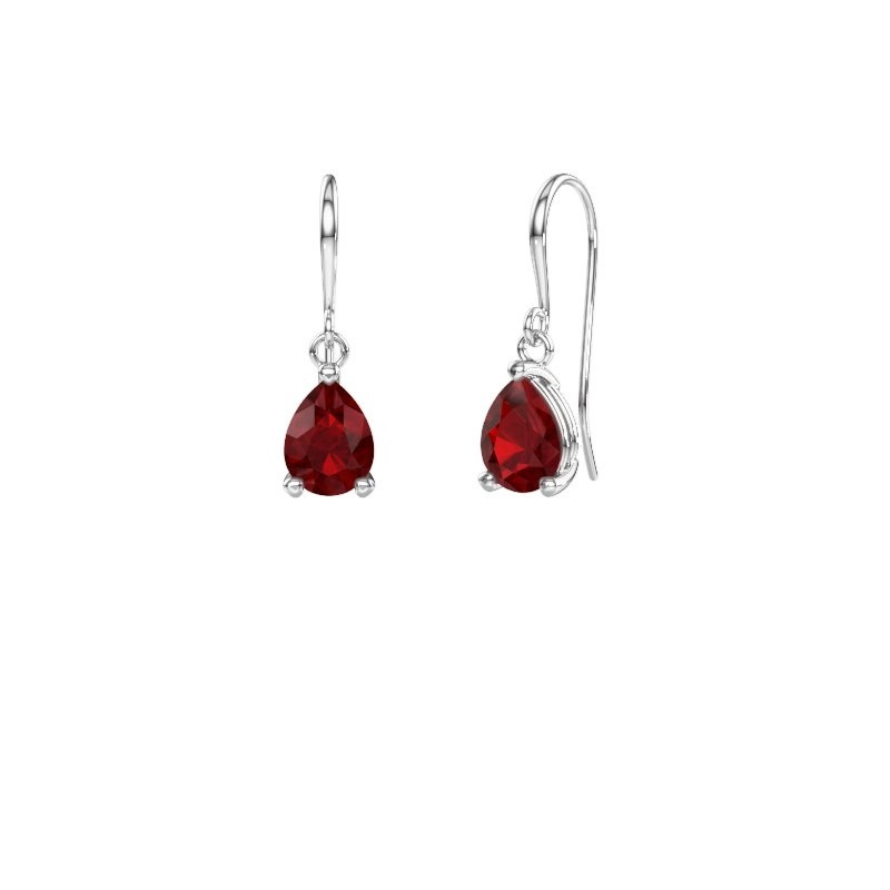 Drop earrings Laurie 1 375 white gold ruby 8x6 mm