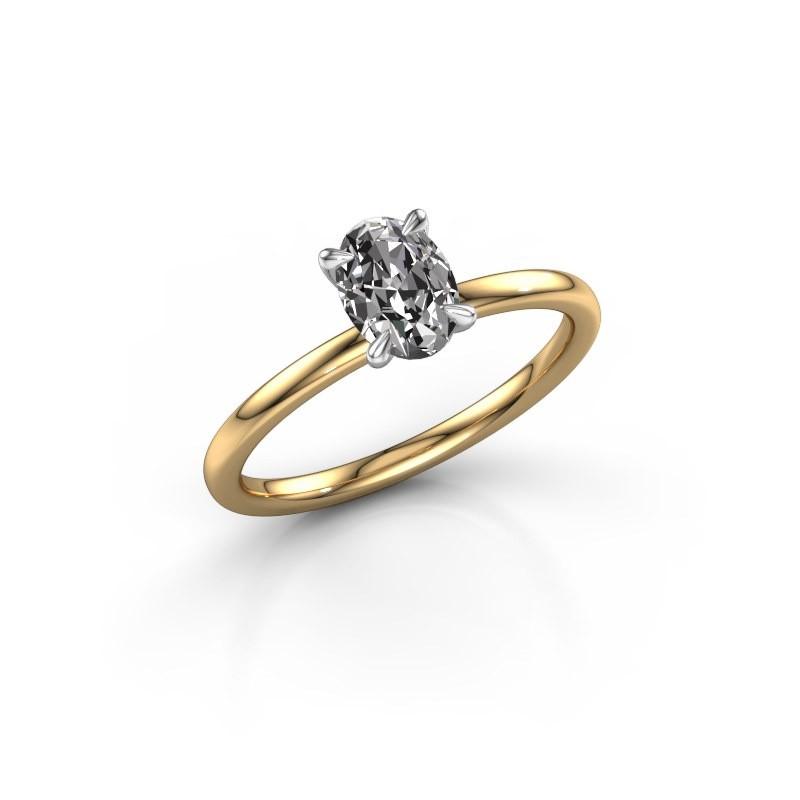 Verlovingsring Crystal OVL 1 585 goud zirkonia 7x5 mm
