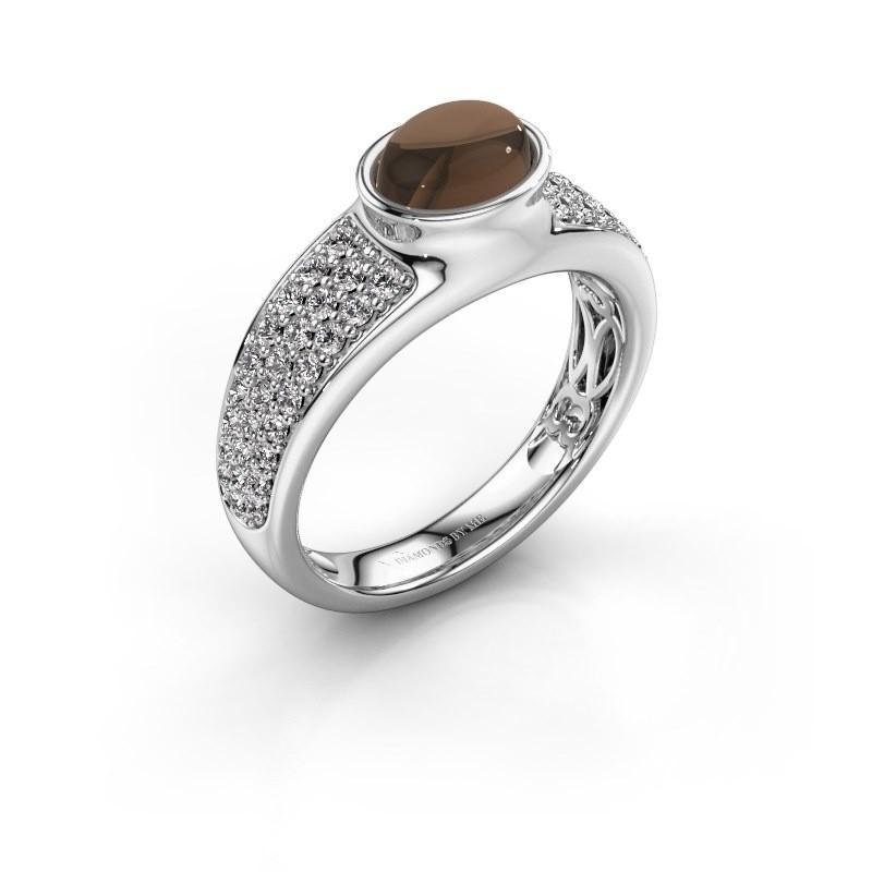 Ring Tatyana 750 witgoud rookkwarts 7x5 mm