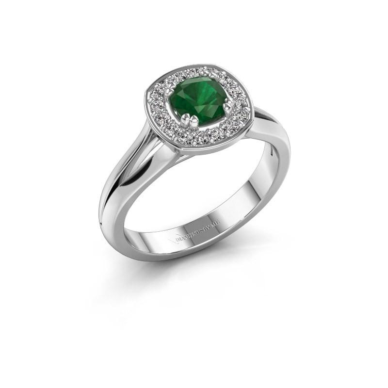 Ring Carolina 1 585 witgoud smaragd 5 mm