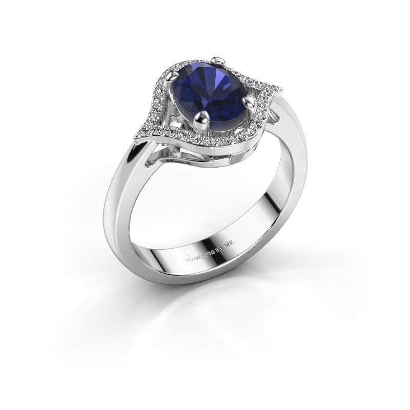 Ring Mendy 585 witgoud saffier 8x6 mm