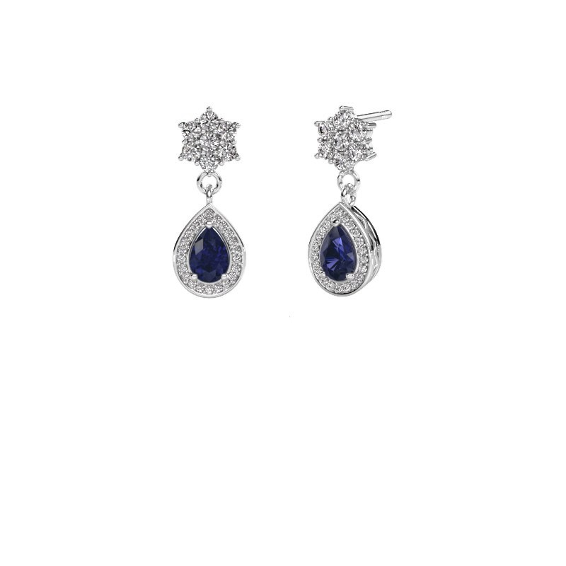 Drop earrings Era 950 platinum sapphire 6x4 mm