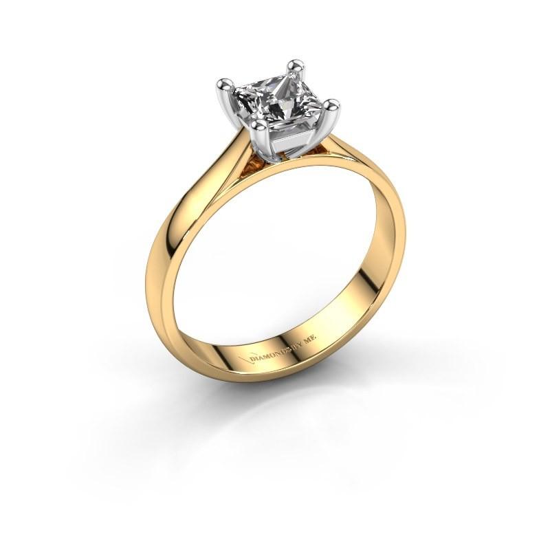 Engagement ring Sam Square 585 gold diamond 0.50 crt