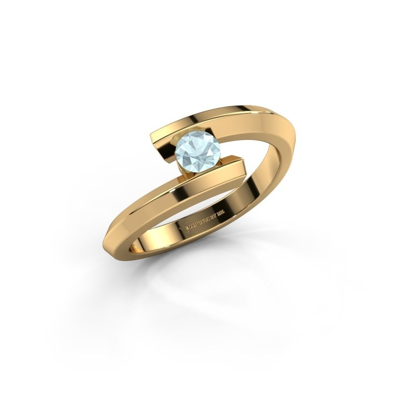 Ring Paulette 585 goud aquamarijn 3.4 mm