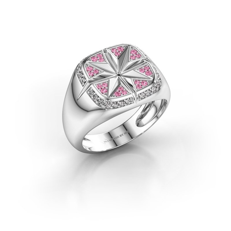 Heren ring Ravi 375 witgoud roze saffier 1 mm
