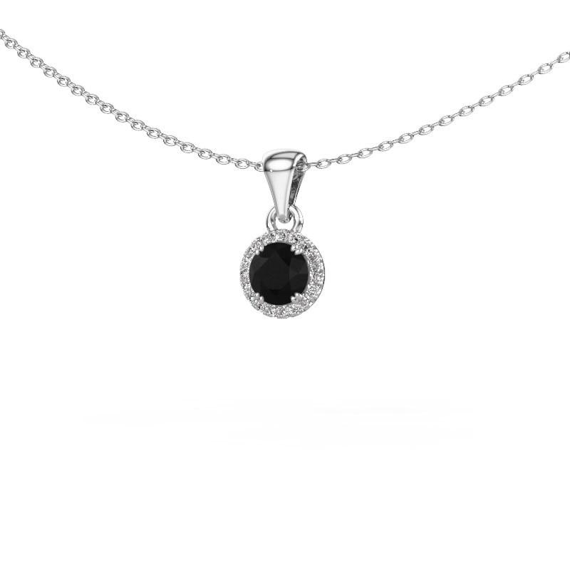 Hanger Seline rnd 950 platina zwarte diamant 0.560 crt