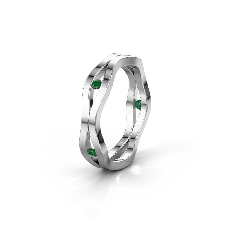 Trouwring WH2122L 925 zilver smaragd ±5x1.8 mm