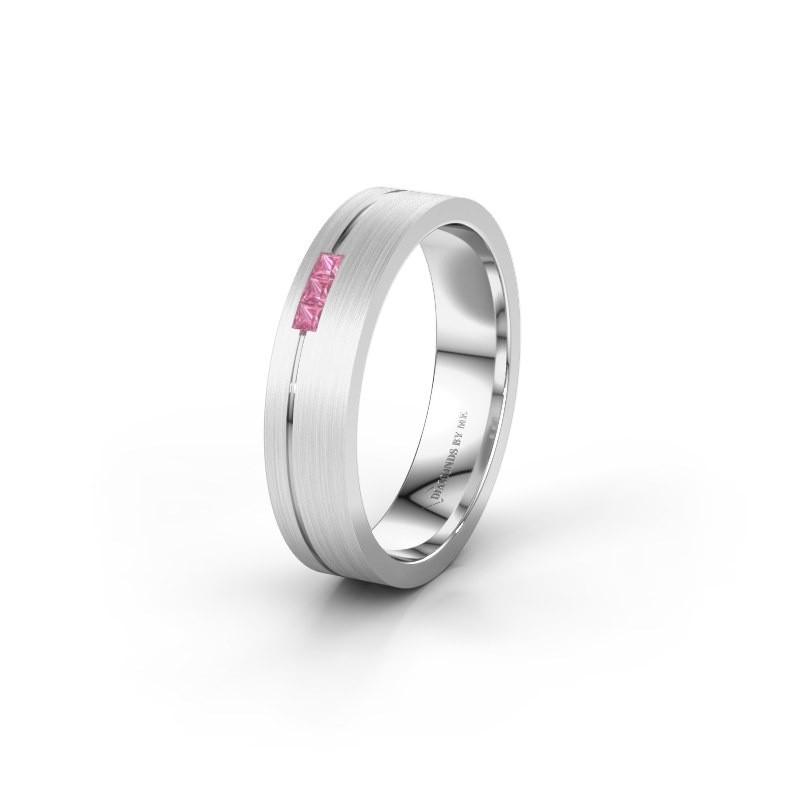 Trouwring WH0158L14X 585 witgoud roze saffier ±4,5x1.4 mm