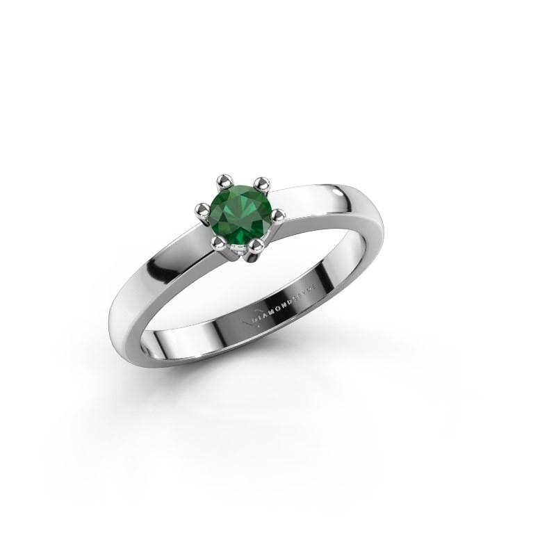 Verlovingsring Luna 1 585 witgoud smaragd 3.7 mm