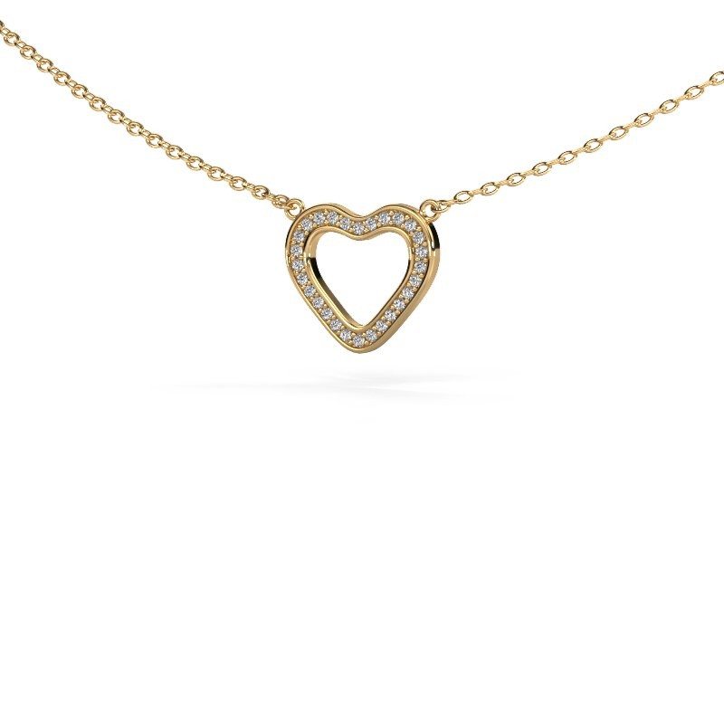 Hanger Heart 3 375 goud diamant 0.07 crt