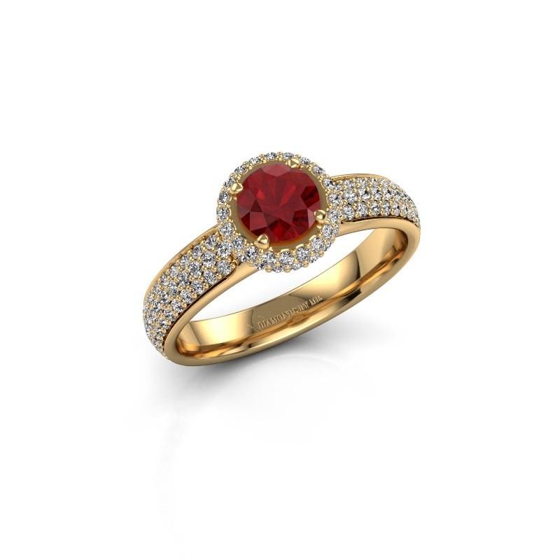 Verlovingsring Mildred 375 goud robijn 5 mm