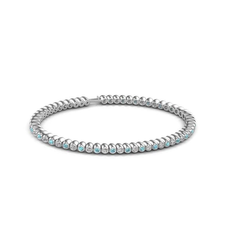 Tennisarmband Trix 585 witgoud blauw topaas 2 mm
