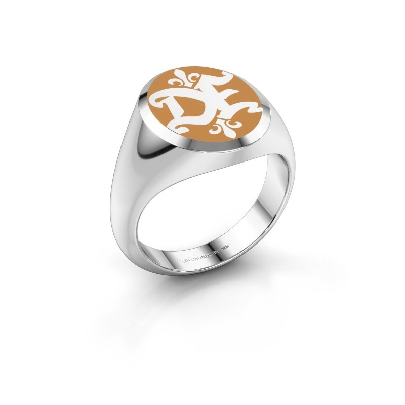 Monogram ring Xandro Emaille 585 witgoud gele emaille