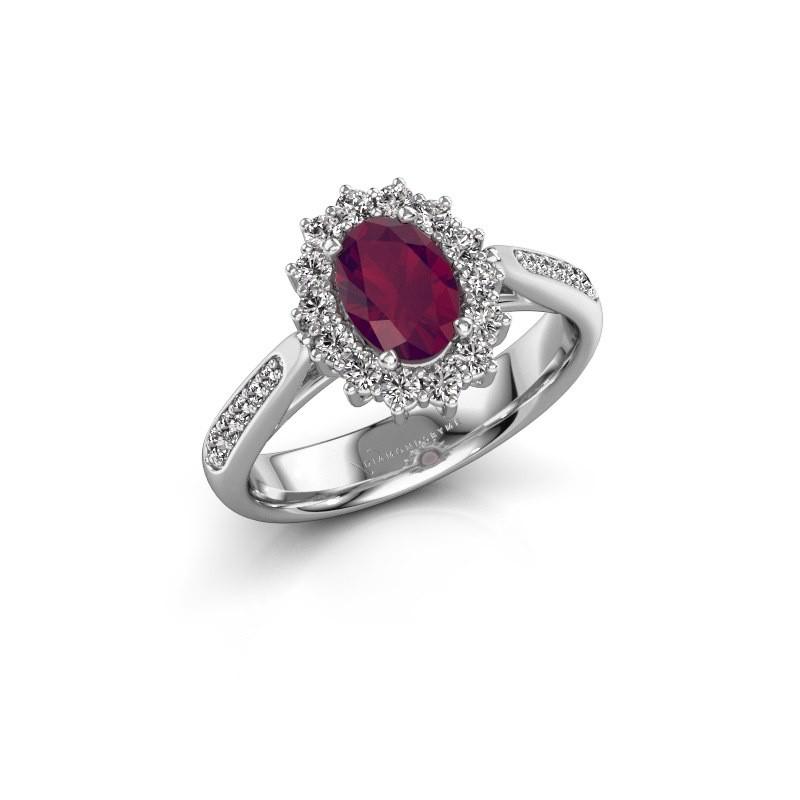 Engagement ring Margien 2 585 white gold rhodolite 7x5 mm