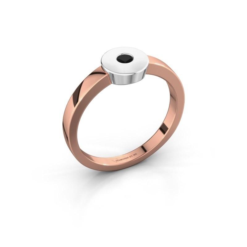 Bague Elisa 585 or rose diamant noir 0.12 crt