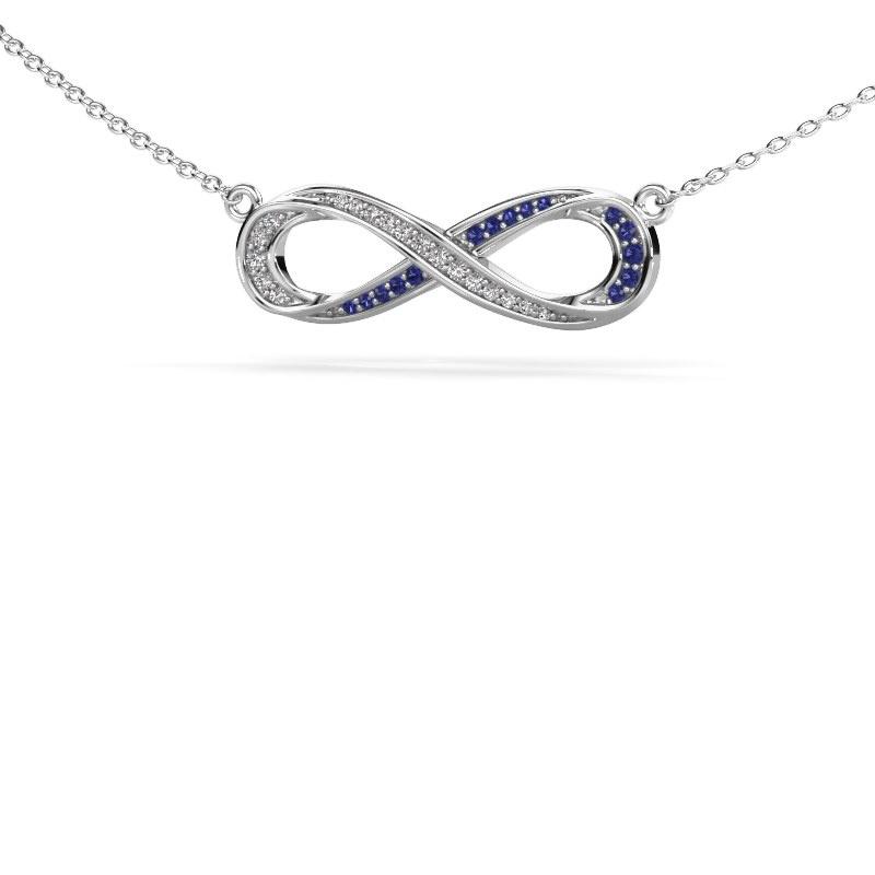 Collier Infinity 2 925 zilver saffier 0.8 mm