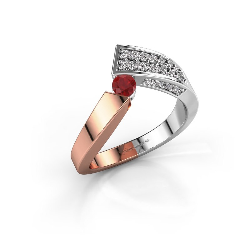 Ring Evie 585 rose gold ruby 3.4 mm