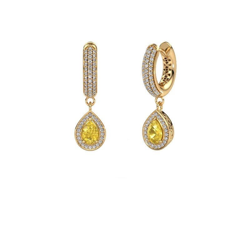 Drop earrings Barbar 2 585 gold yellow sapphire 6x4 mm