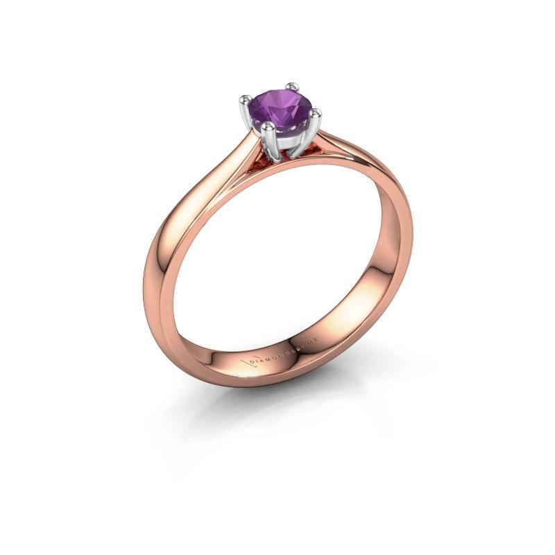 Engagement ring Sam 585 rose gold amethyst 4.2 mm