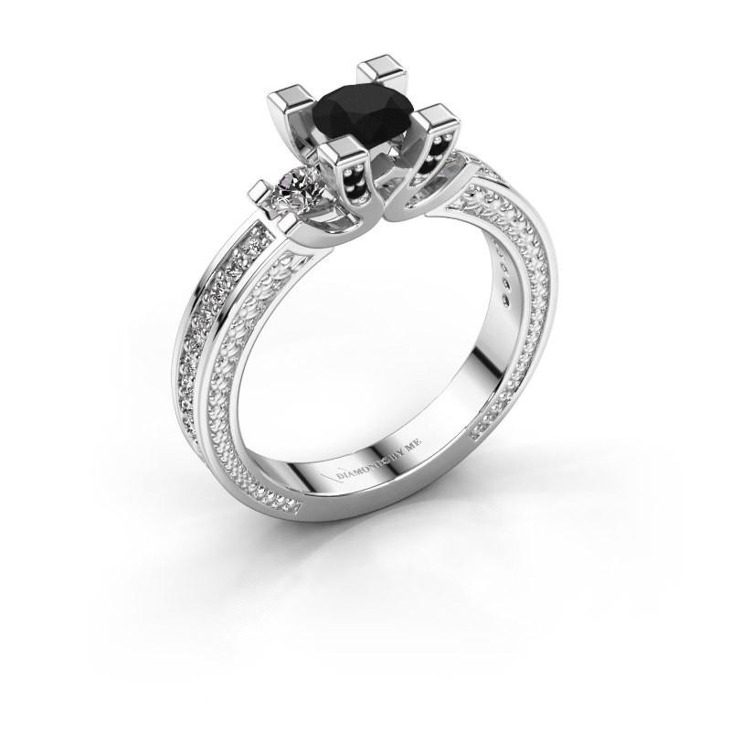 Aanzoeksring Ninthe 950 platina zwarte diamant 0.999 crt