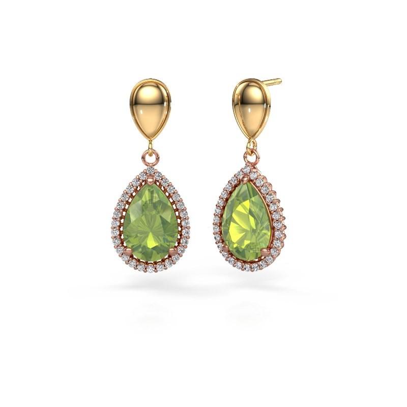 Drop earrings Tilly per 1 585 rose gold peridot 12x8 mm