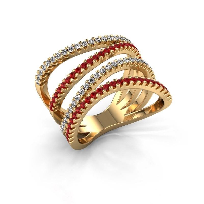 Ring Mitzi 375 goud robijn 1.2 mm