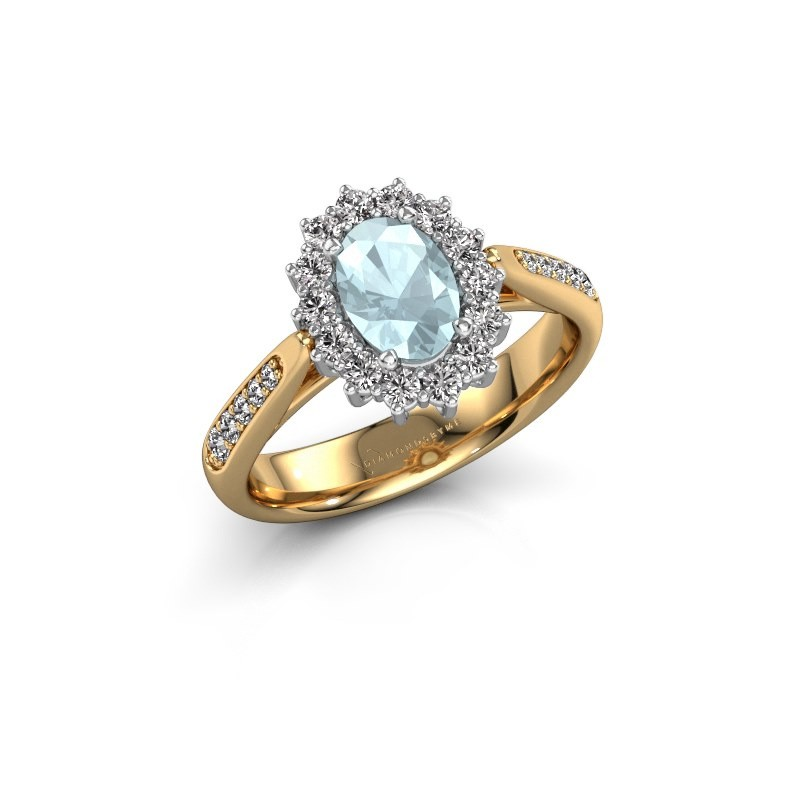 Engagement ring Margien 2 585 gold aquamarine 7x5 mm