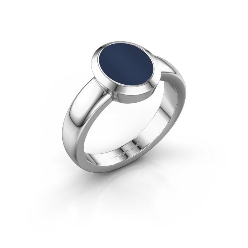 Zegelring Freeda 1 925 zilver donker blauw lagensteen 10x8 mm