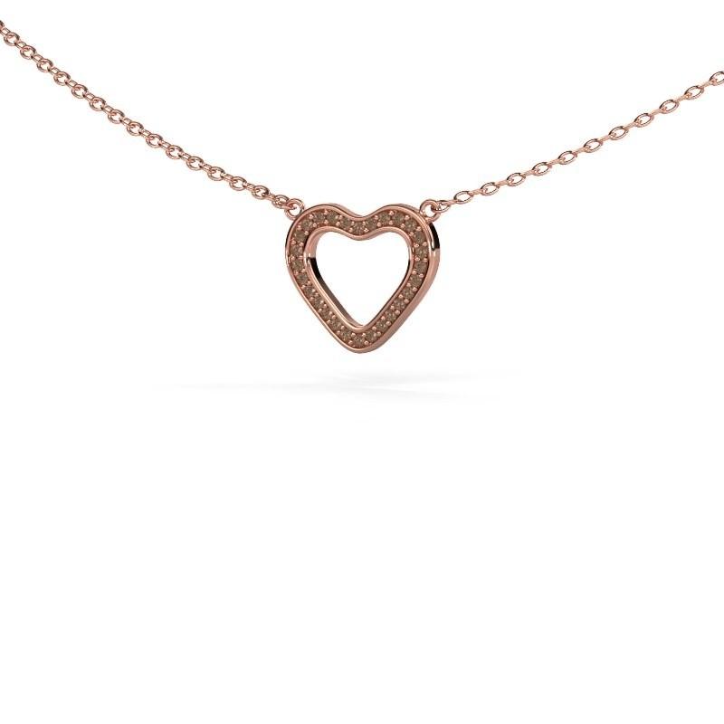 Hanger Heart 3 375 rosé goud bruine diamant 0.07 crt