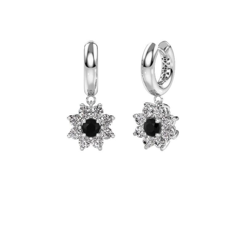 Drop earrings Geneva 1 585 white gold black diamond 2.44 crt