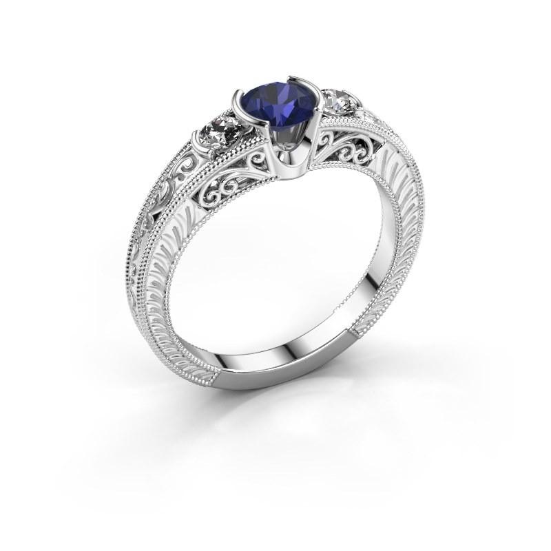 Promise ring Tasia 950 platina saffier 5 mm