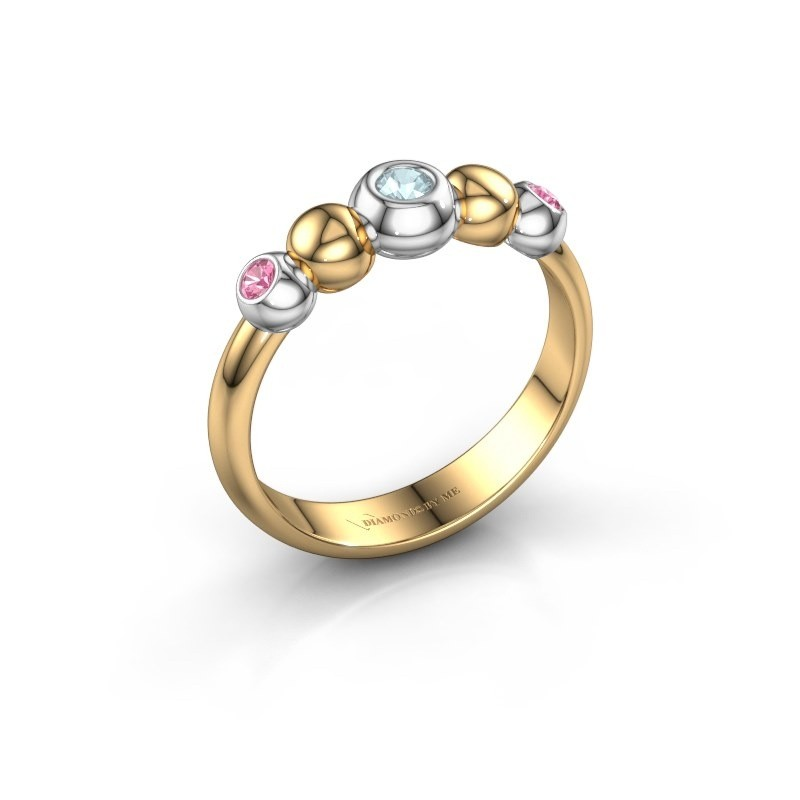 Bague superposable Lily 585 or jaune aigue-marine 2.5 mm