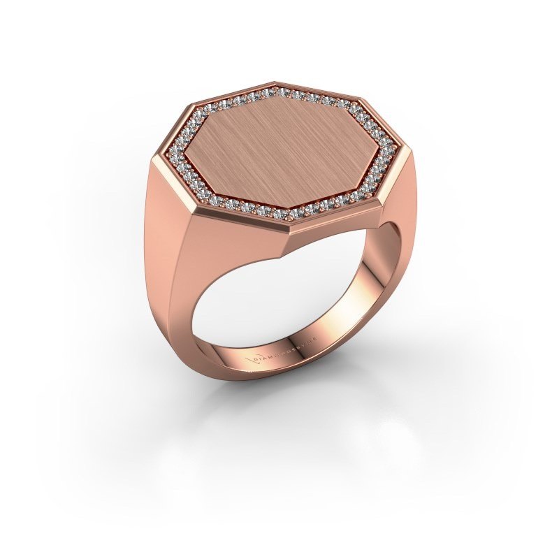Men's ring Floris Octa 4 375 rose gold zirconia 1.2 mm