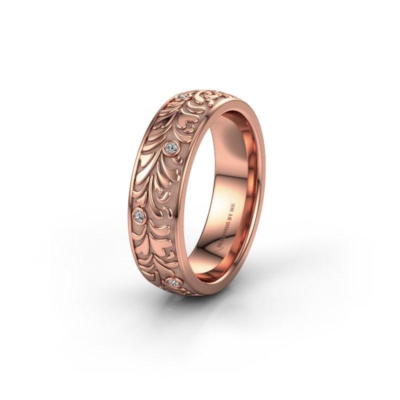 Trouwring WH2074L26D 375 rosé goud diamant ±6x2.4 mm