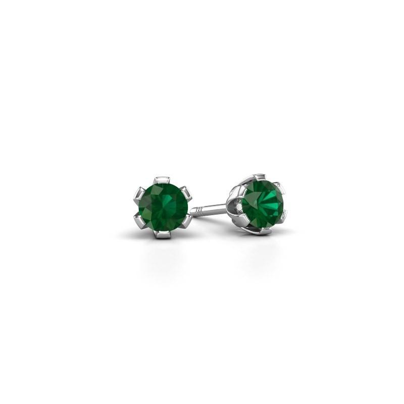 Stud Earrings Julia 375 White Gold Emerald 4 Mm