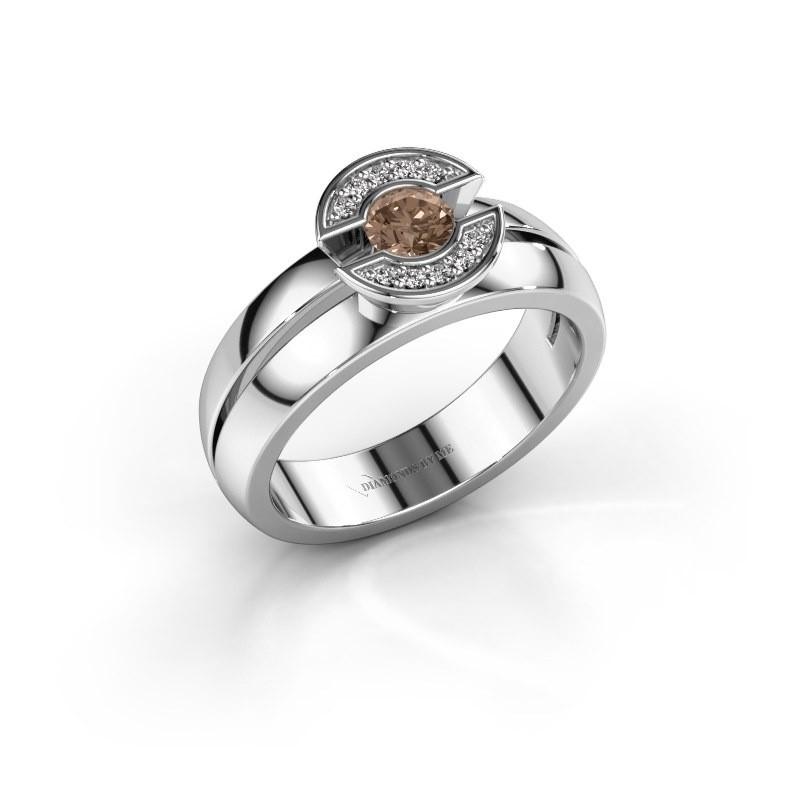 Ring Jeanet 1 950 platina bruine diamant 0.30 crt