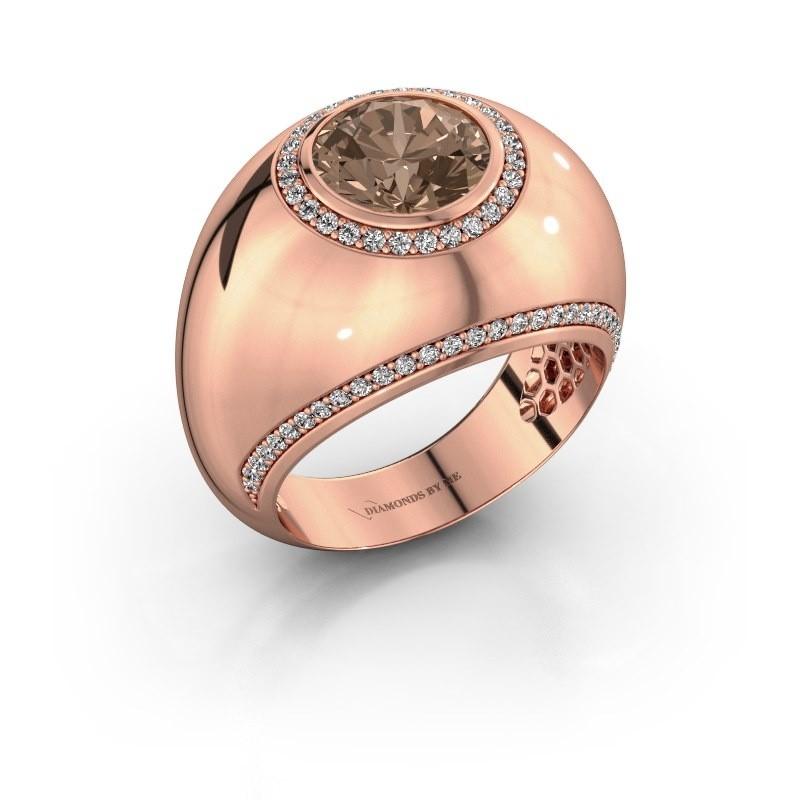 Bague Roxann 375 or rose diamant brun 2.41 crt