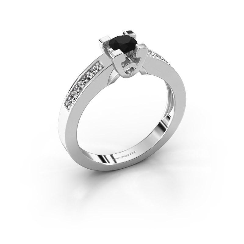 Verlovingsring Nina 2 925 zilver zwarte diamant 0.52 crt