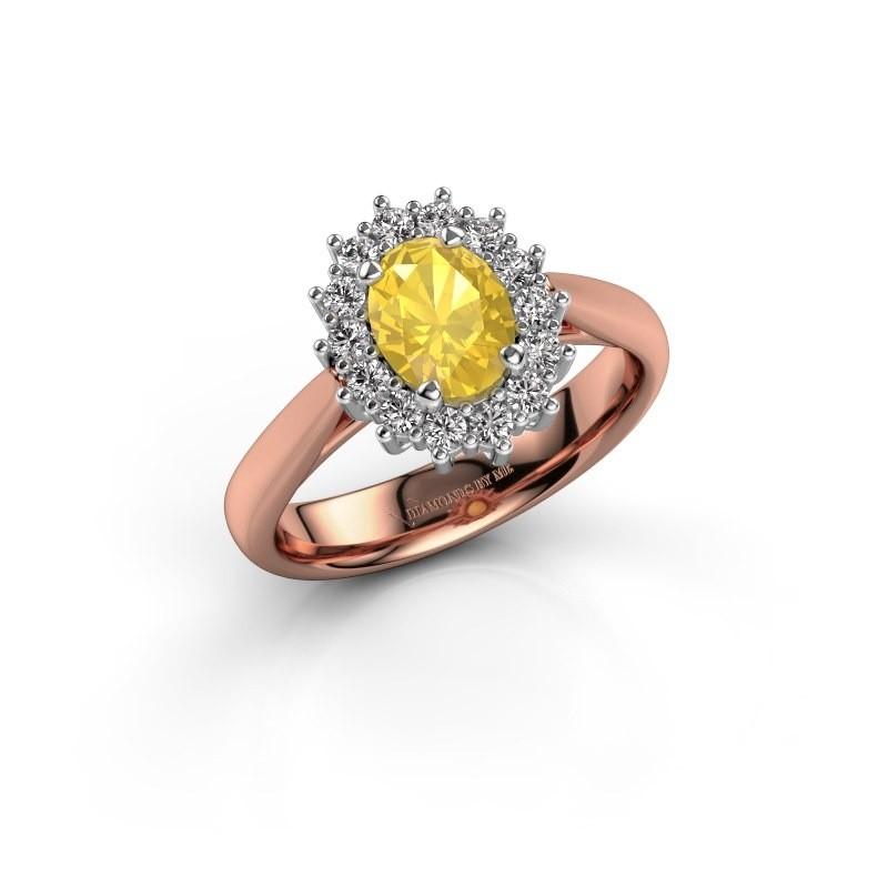 Verlovingsring Margien 1 585 rosé goud gele saffier 7x5 mm